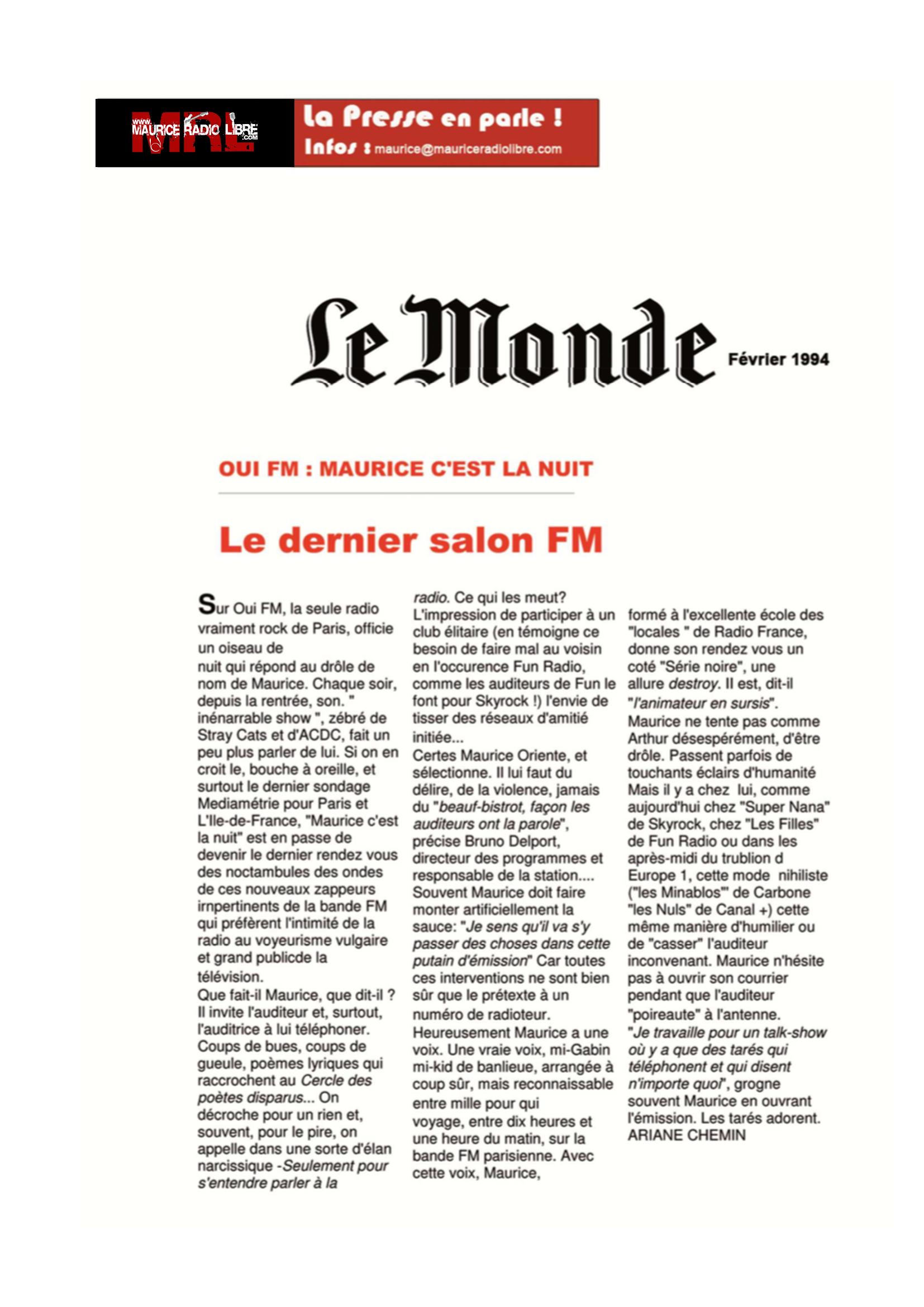vignette Le Monde OUI FM : MAURICE C'EST LA NUIT : Le dernier salon FM - Février 1994