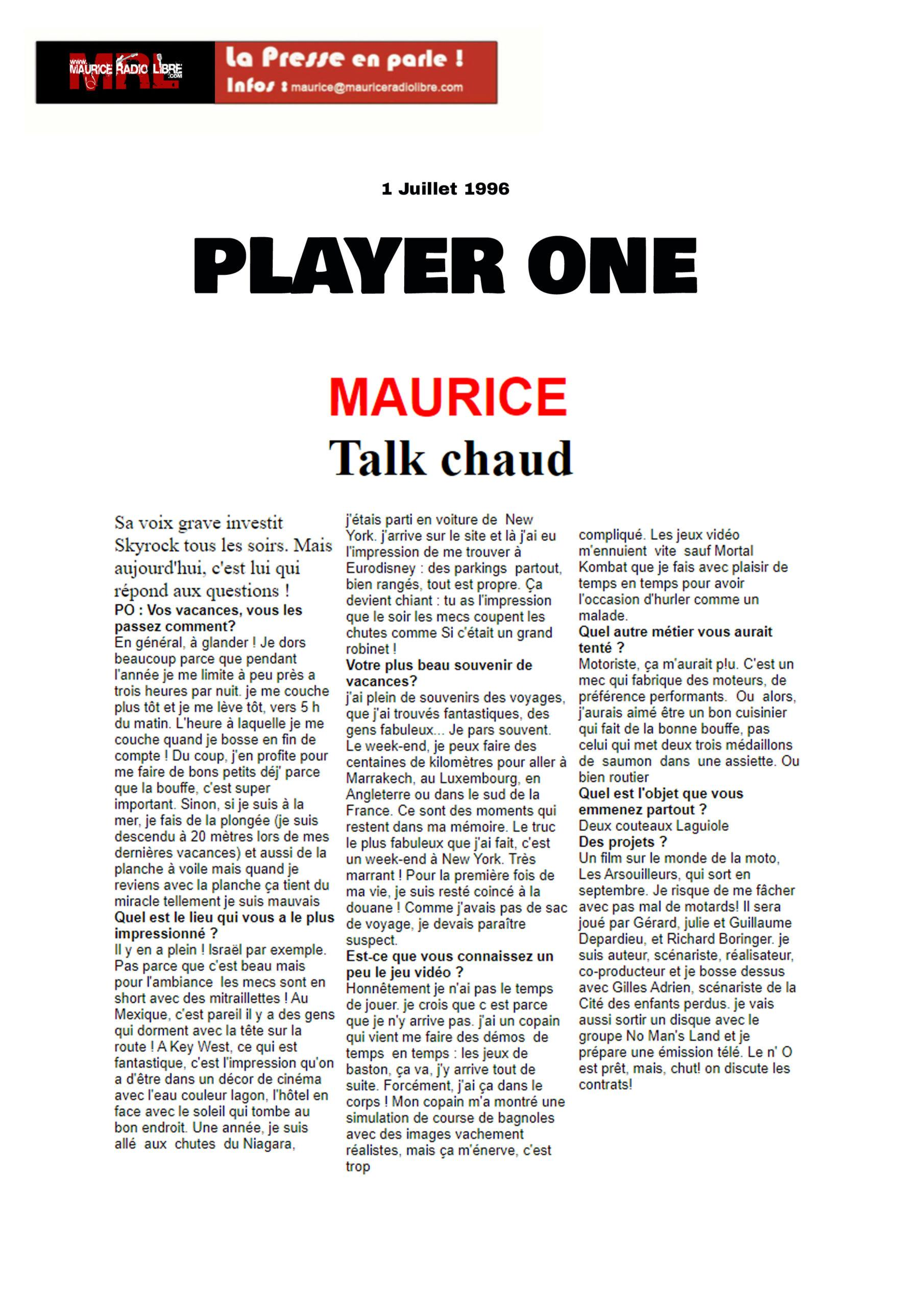 vignette Player One MAURICE Talk chaud - 01/07/1996