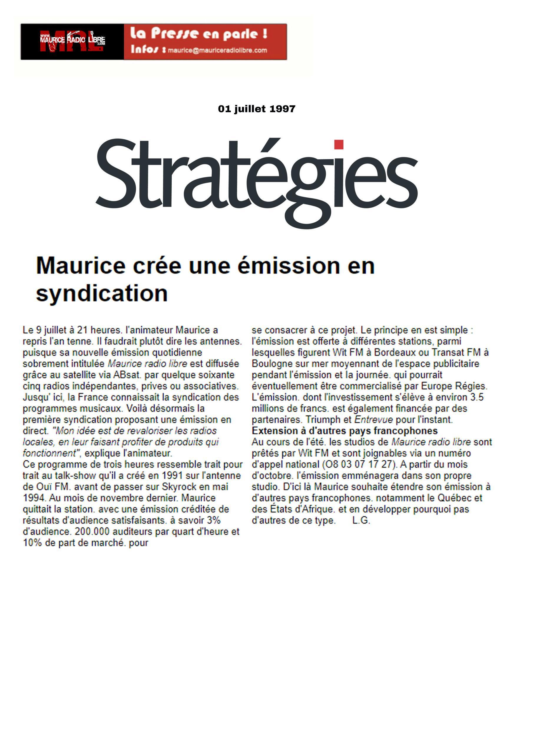 vignette Strategies Maurice crée une émission en syndication - 01/07/1997