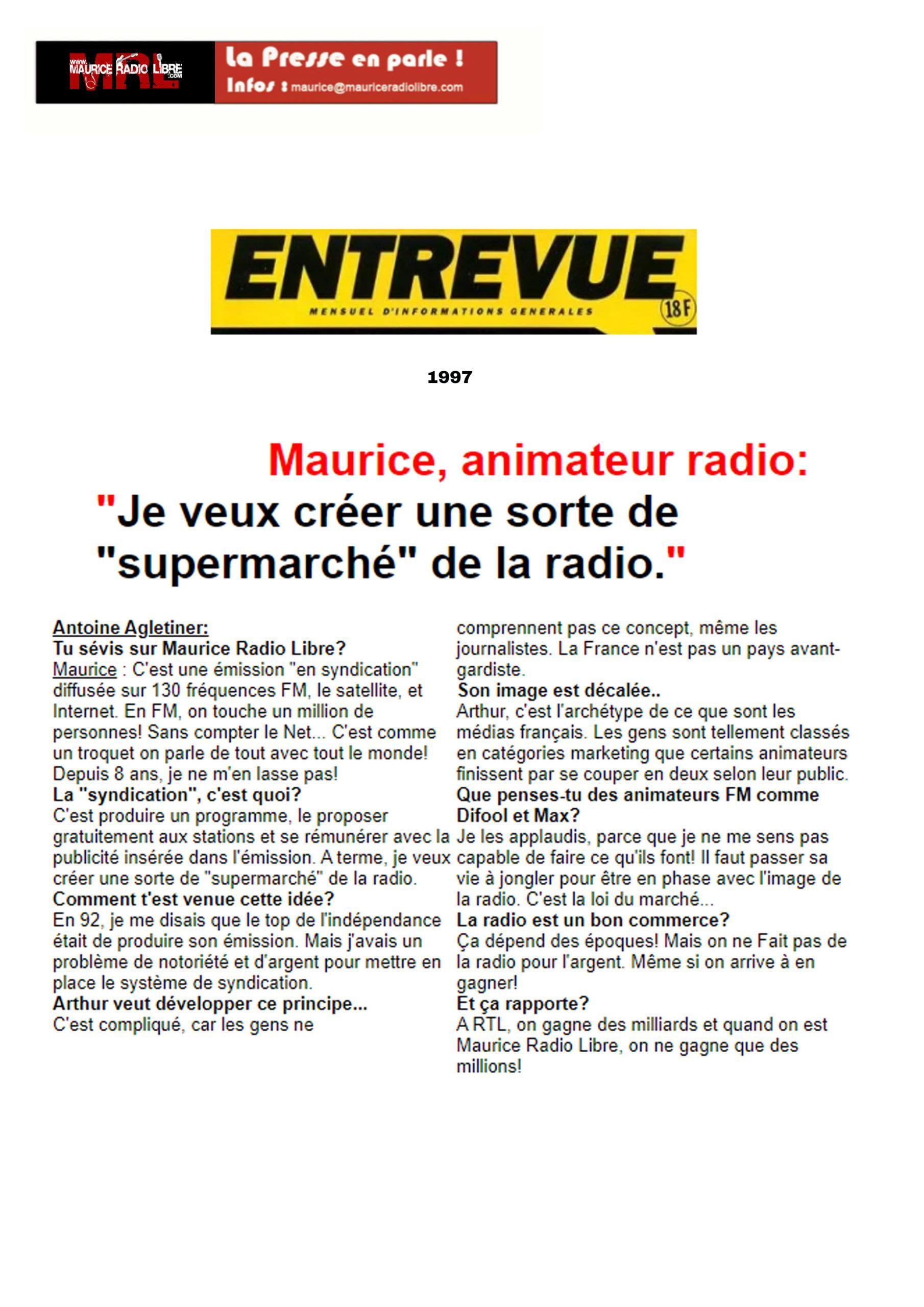 vignette Entrevue Maurice, animateur radio - 1997