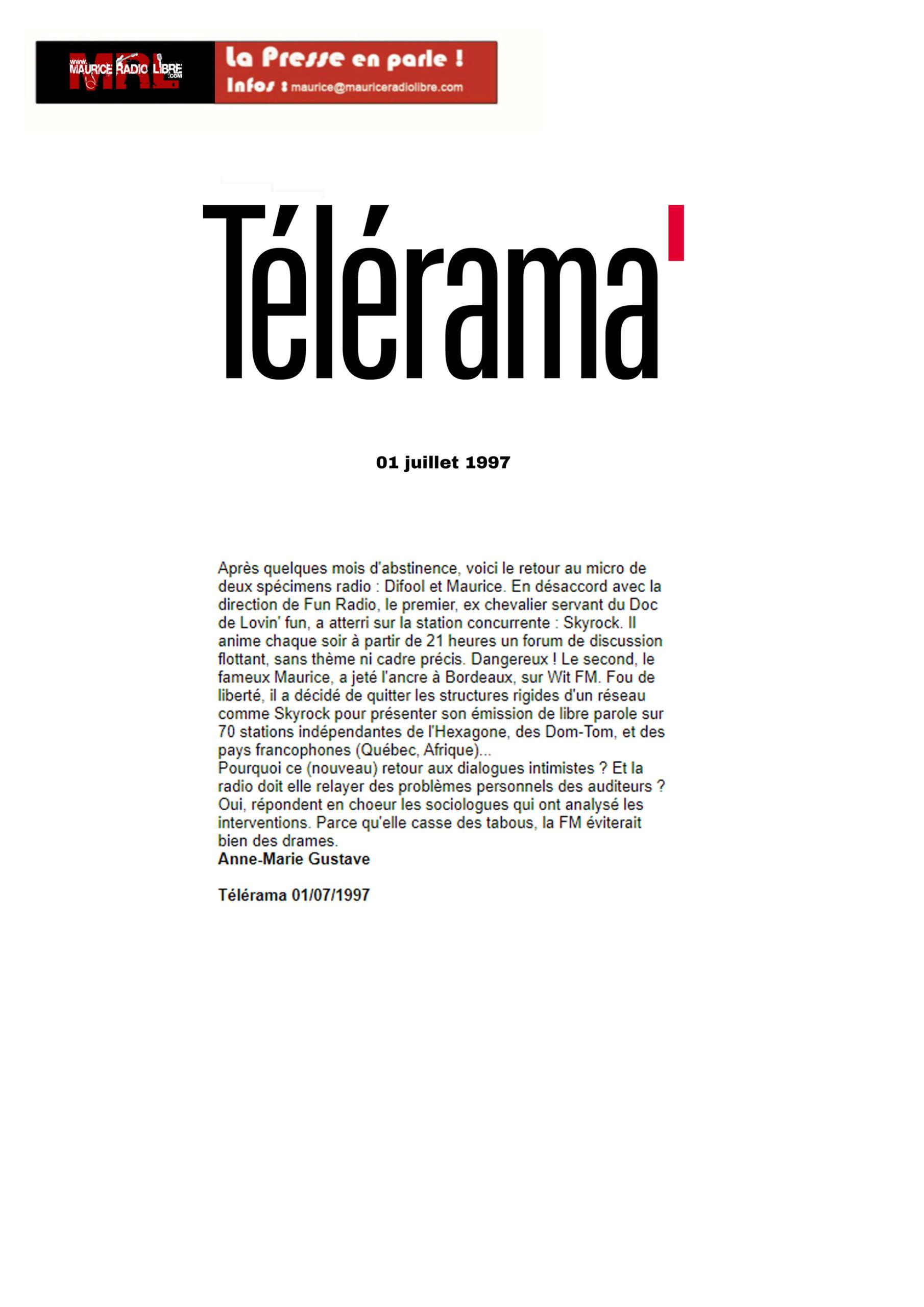 vignette Télérama Après quelques mois d'abstinence… - 01/07/1997