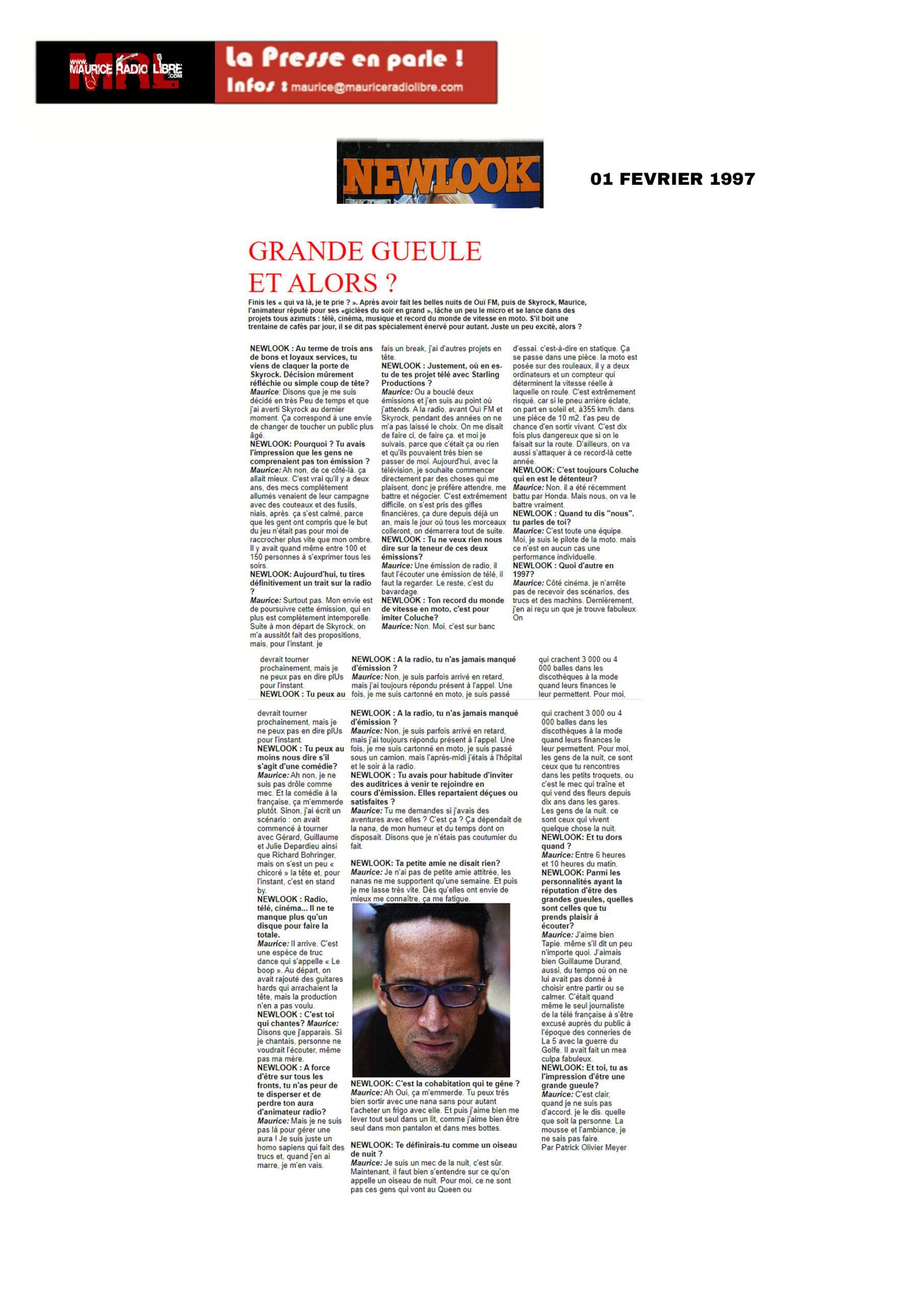 vignette Newlook GRANDE GUEULE ET ALORS ? - 01/02/1997