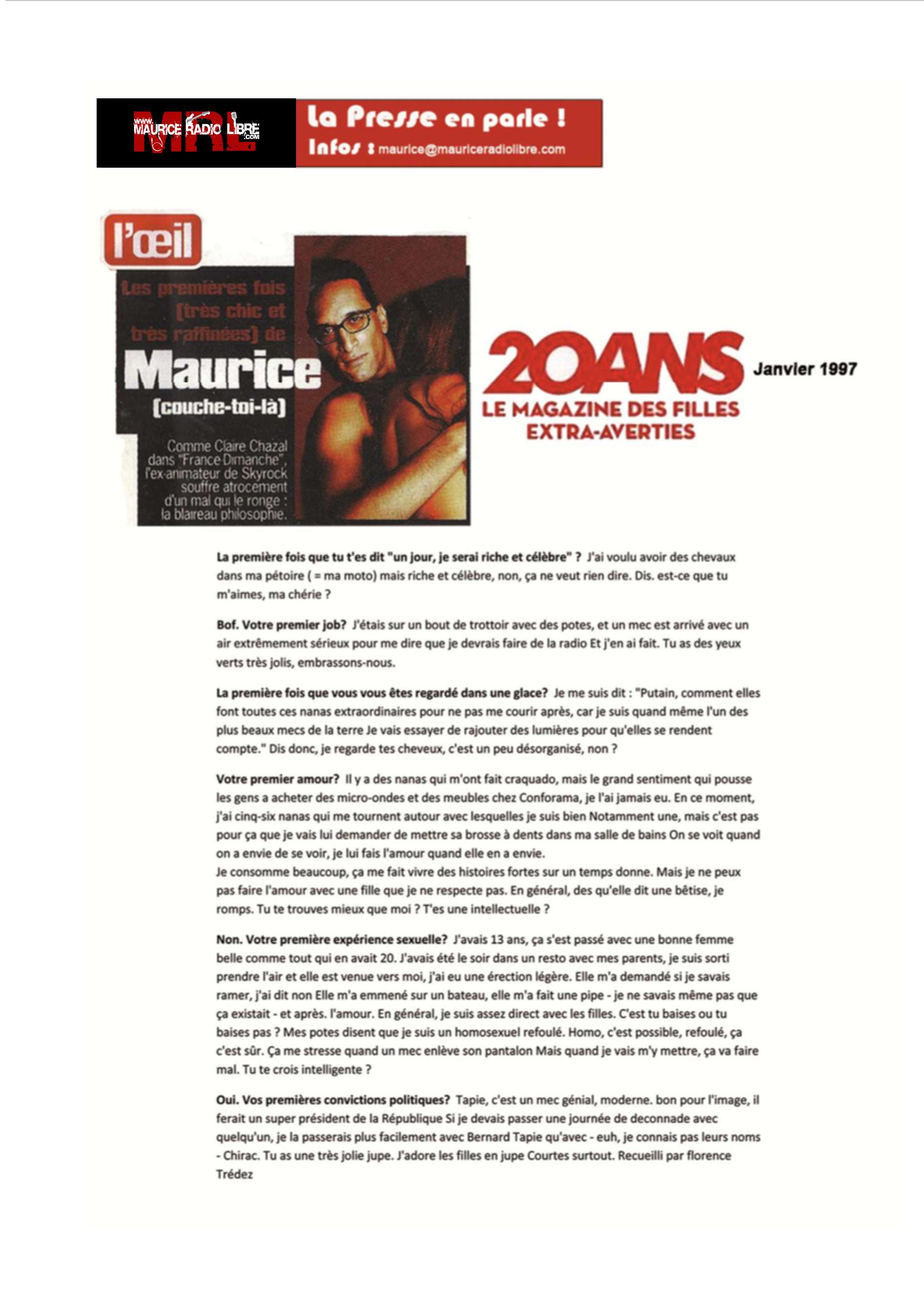 vignette 20 ans Les premières fois - Janvier 1997