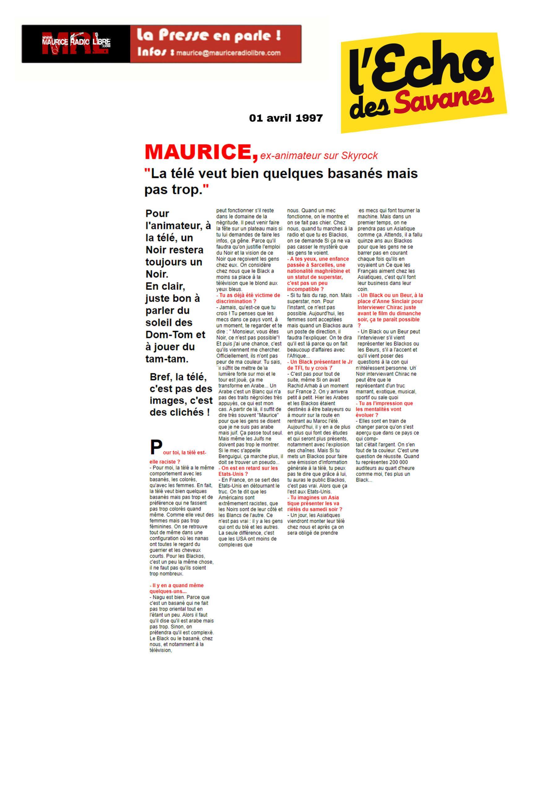 vignette L'Echo des Savanes MAURICE, ex-animateur sur Skyrock - 01/04/1997