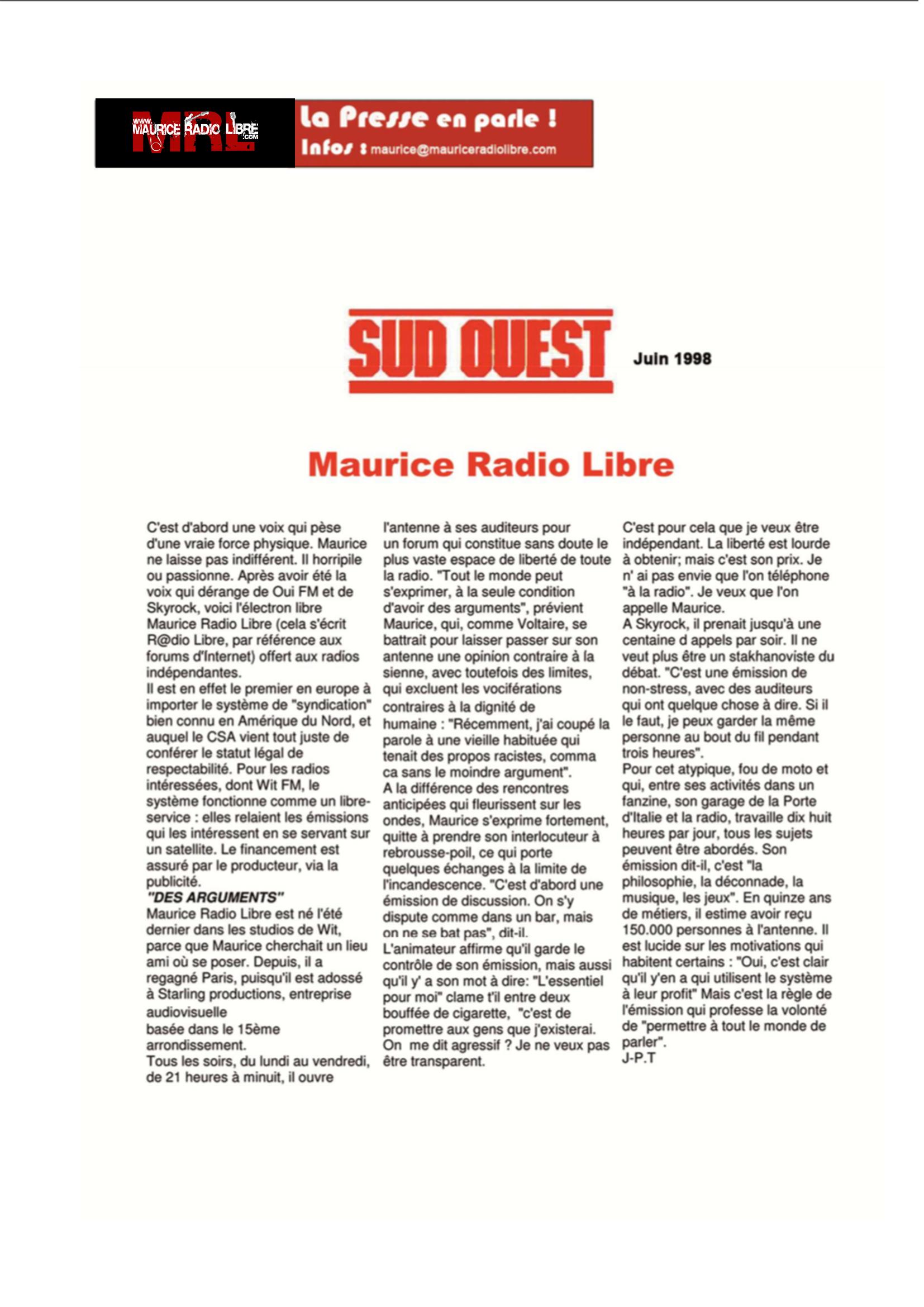 vignette Sud Ouest Maurice Radio Libre - Juin 1998