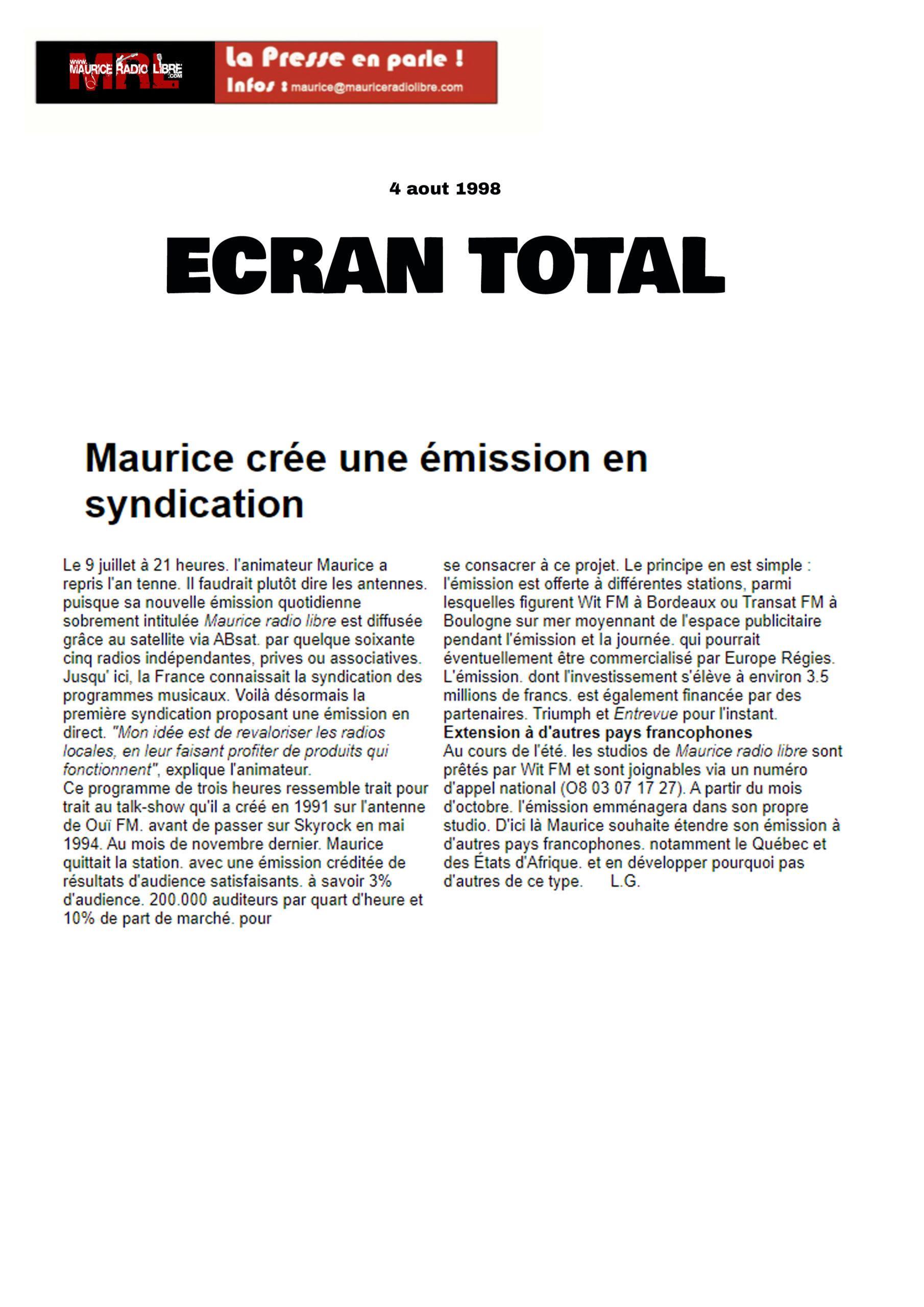 vignette ECRAN TOTAL - Maurice crée une émission en syndication
