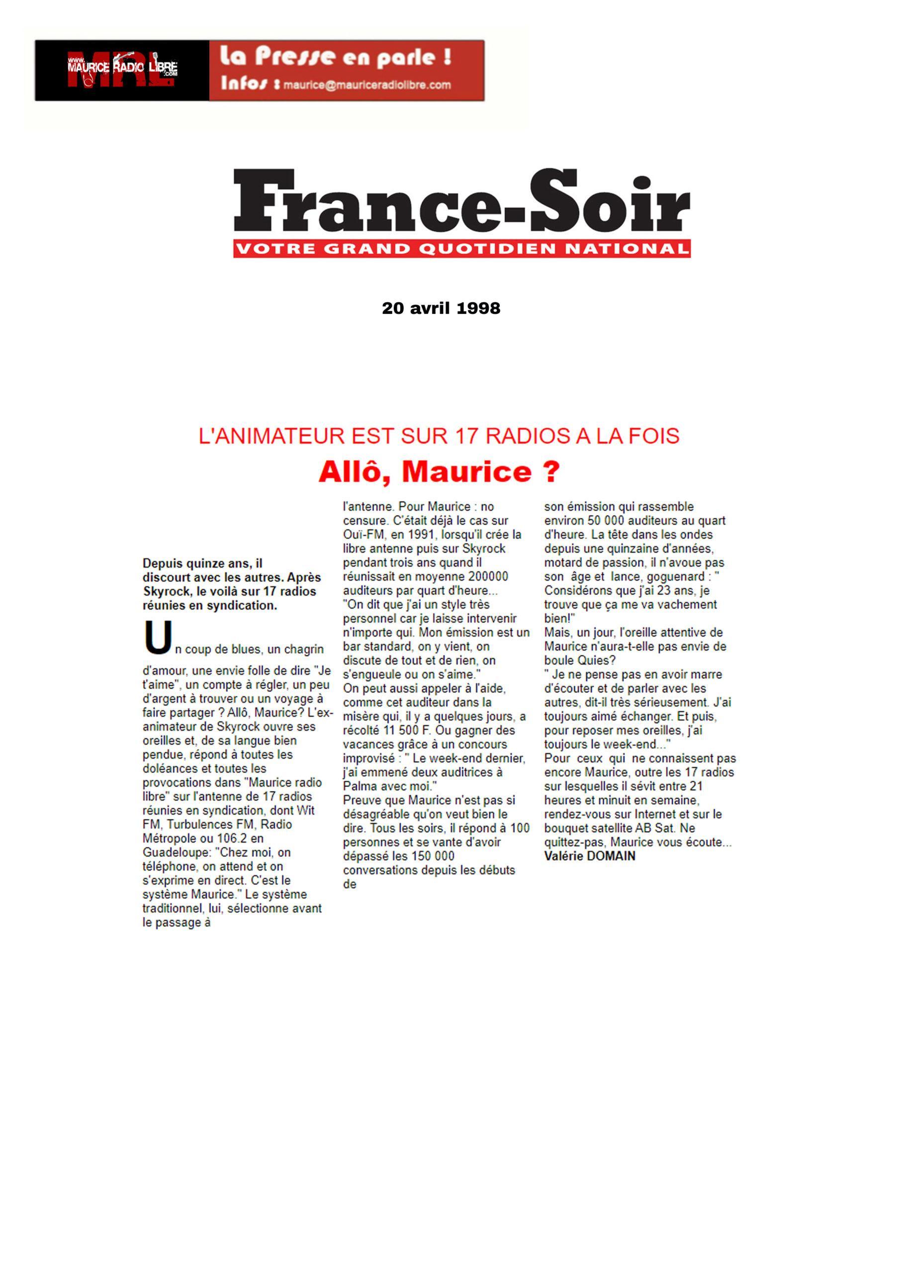 vignette France Soir Allô, Maurice ? - 20/04/1998