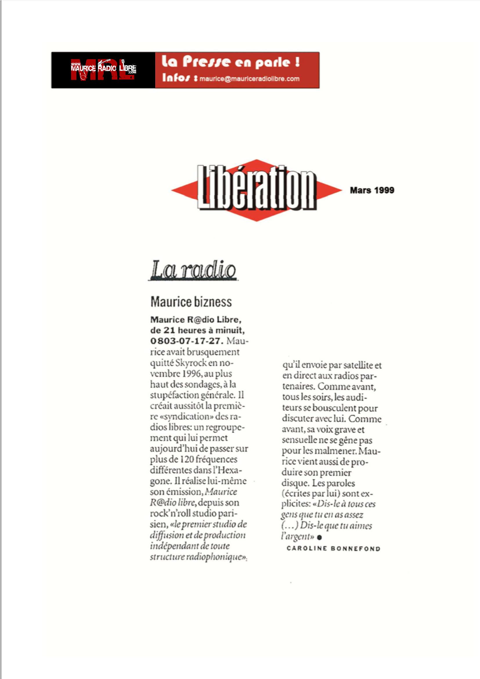 vignette Libération - La radio - Mars 1999