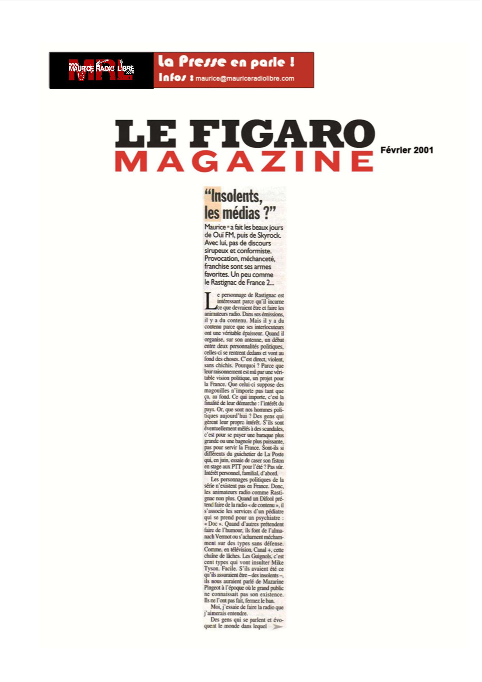 vignette Figaro Magazine Insolents les médias ? - Février 2001