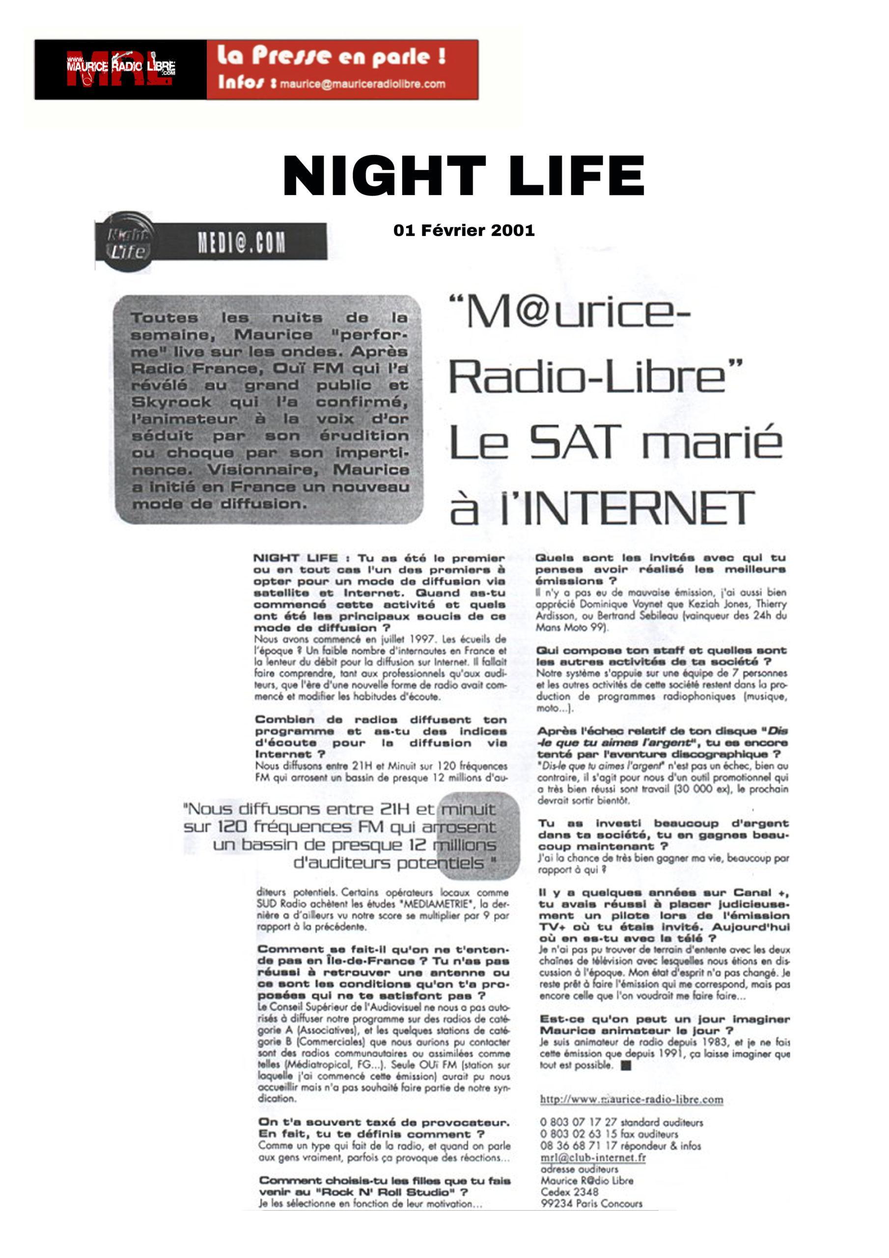 vignette Nigh Life MRL le SAT marié à l'Internet - 01/02/2001