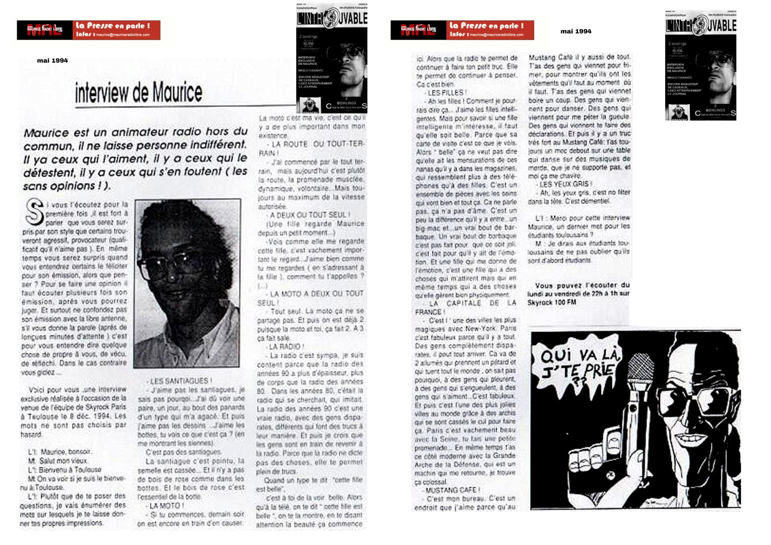 vignette INTROUVABLE Interview de Maurice - Mai 1994