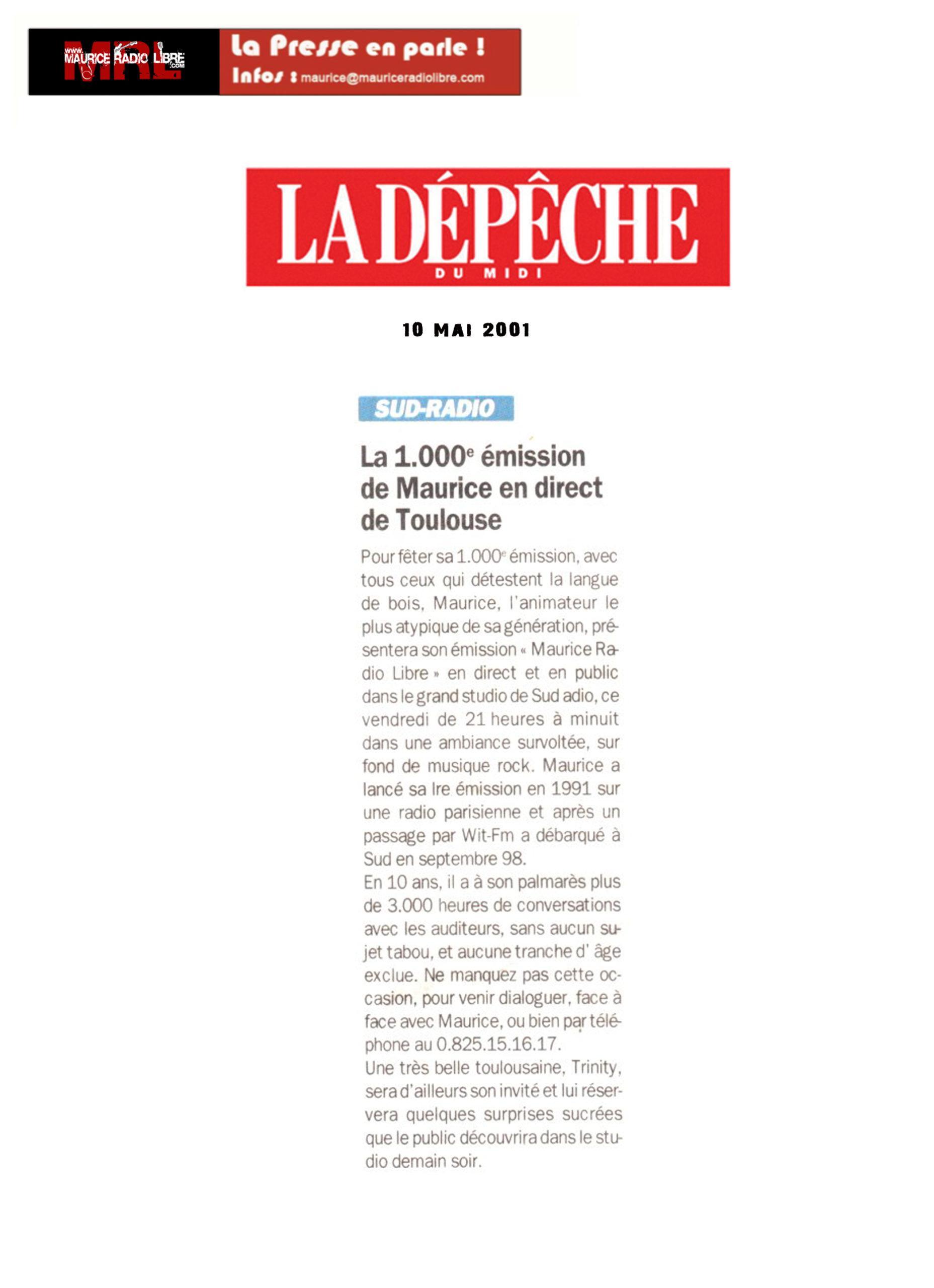 vignette Dépêche du midi La 1 000ème émission - 10/05/2001