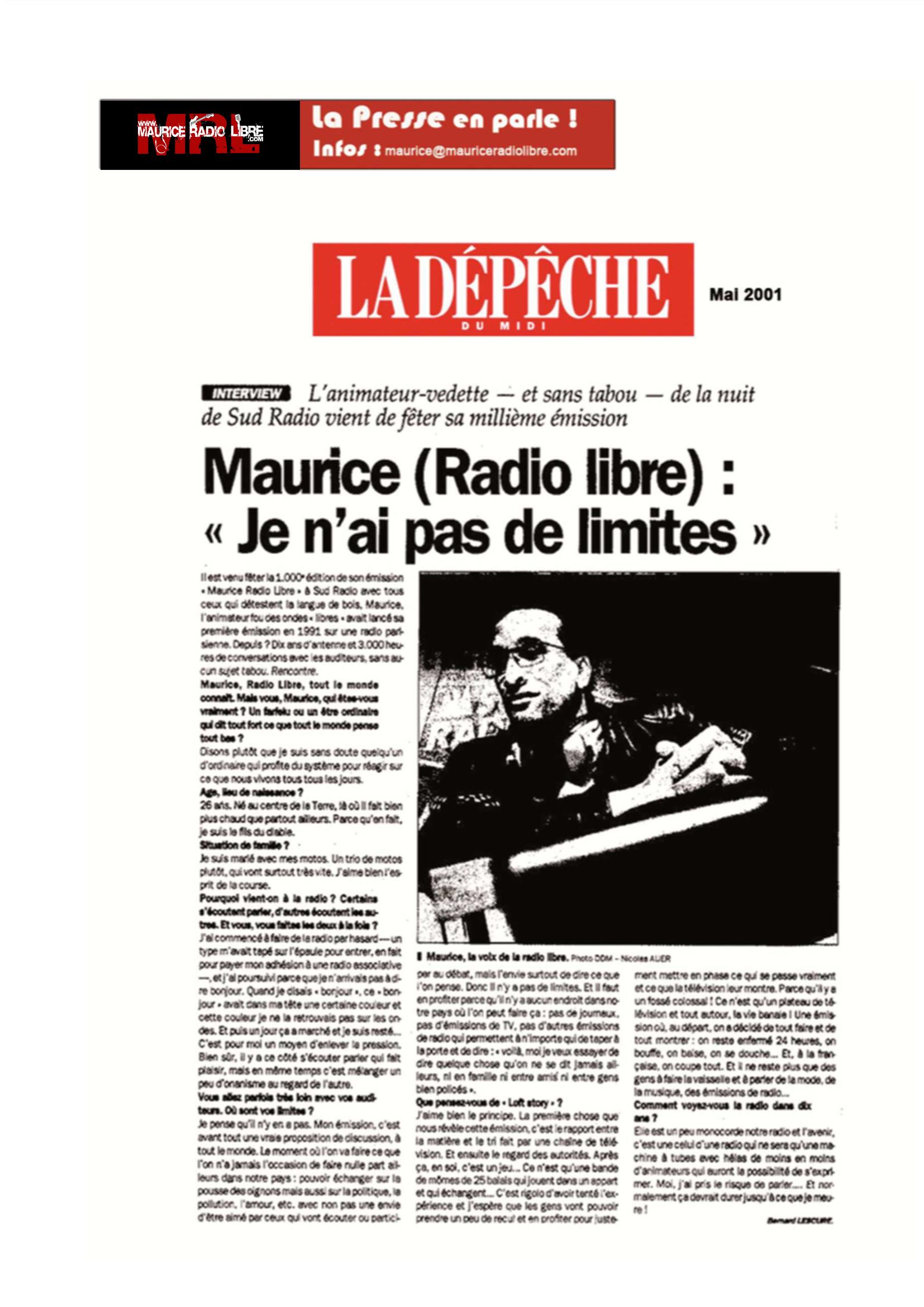 vignette La dépêche du midi Maurice Je n'ai pas de limites - Mai 2001