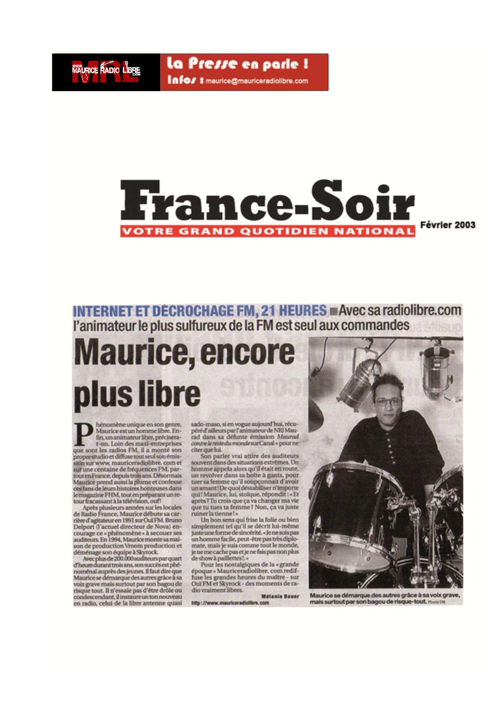vignette France Soir Maurice, encore plus libre - Février 2003