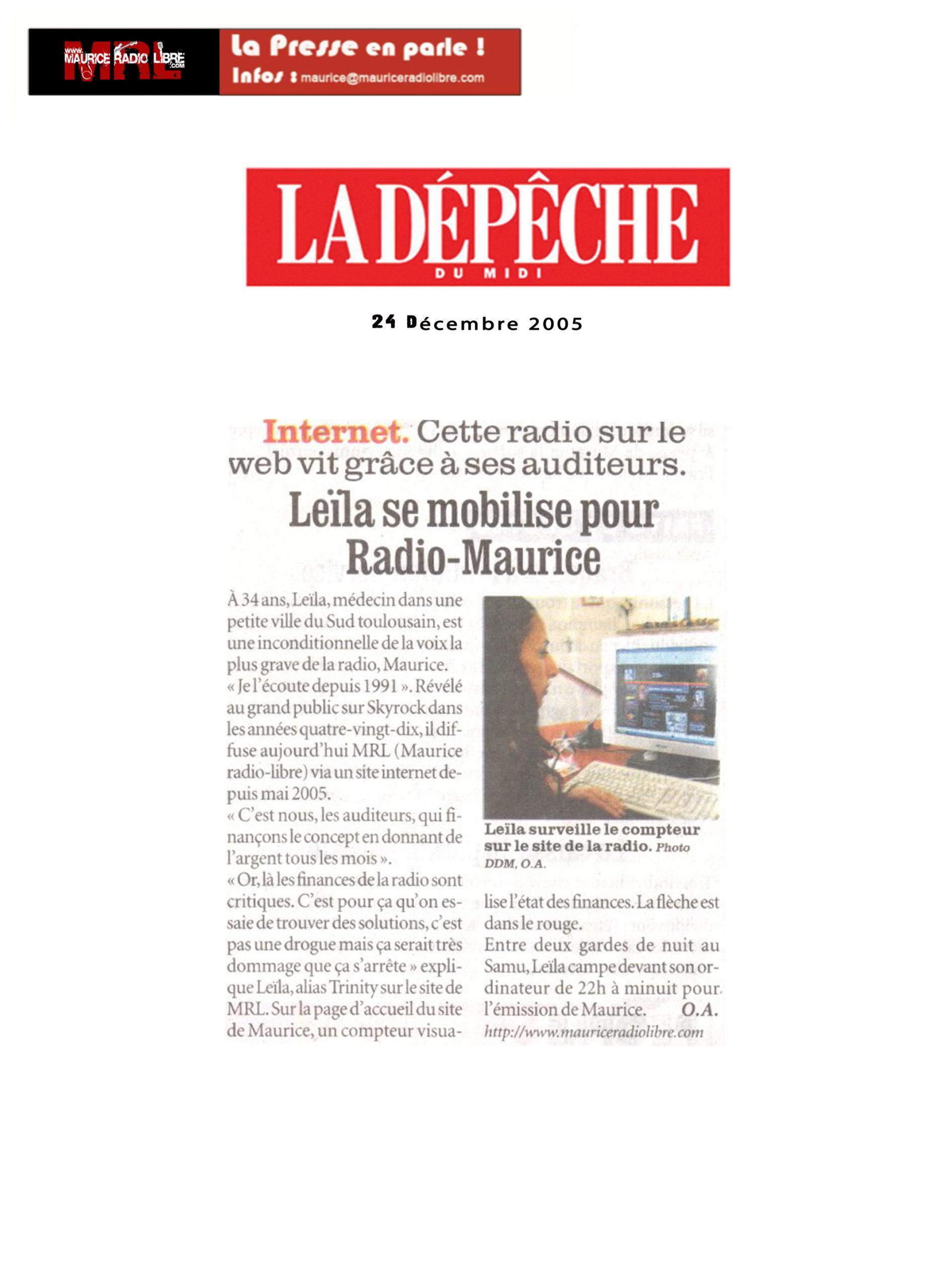 vignette Dépêche du midi Leïla se mobilise pour Radio Maurice - 24/12/2005