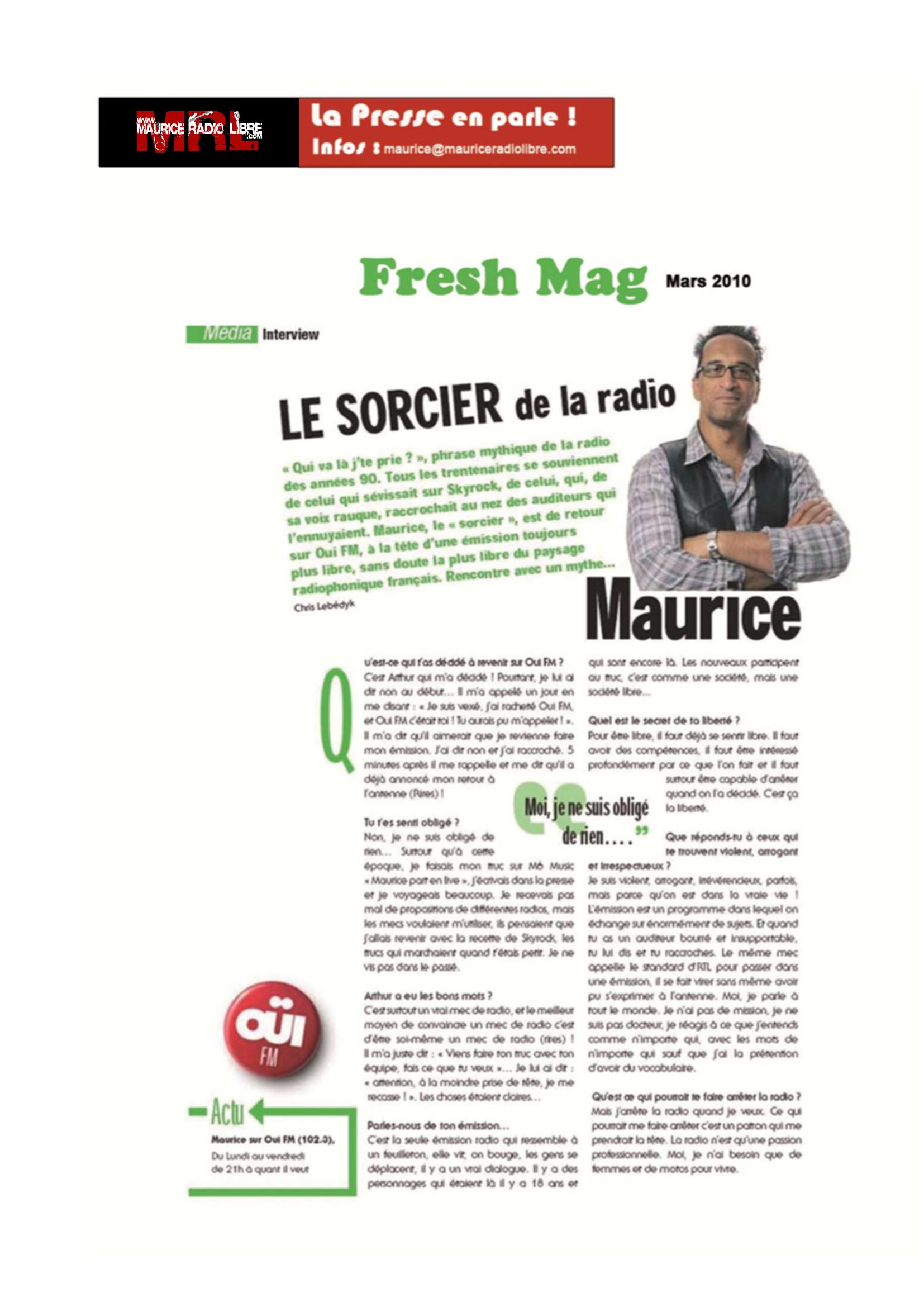 vignette Fresh magazine Le sorcier de la radio - Mars 2010