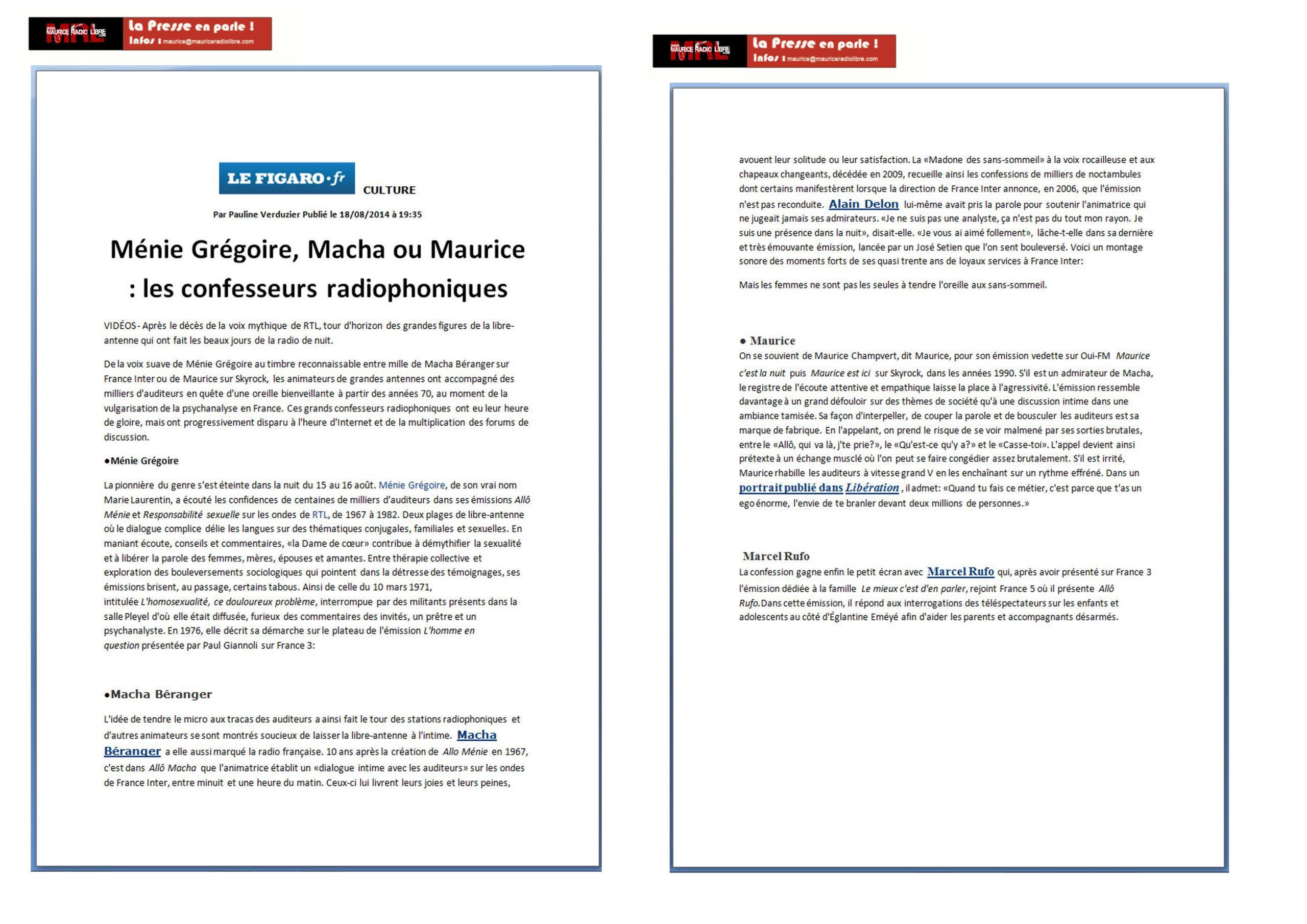 vignette LE FIGARO.FR Ménie Grégoire, Macha ou Maurice : les confesseurs radiophoniques - 18/08/2014