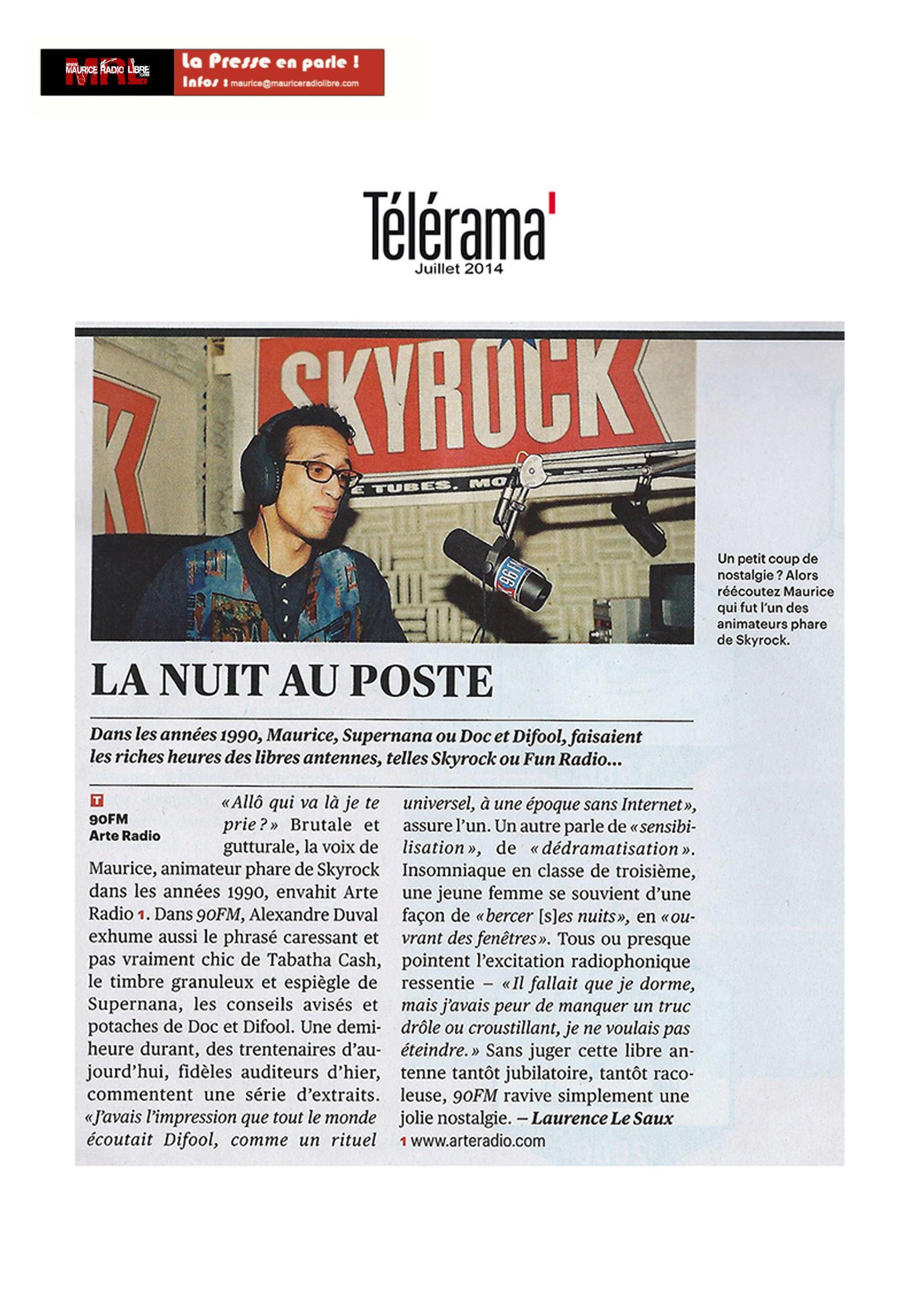 vignette Télérama La nuit au poste - Juillet 2014