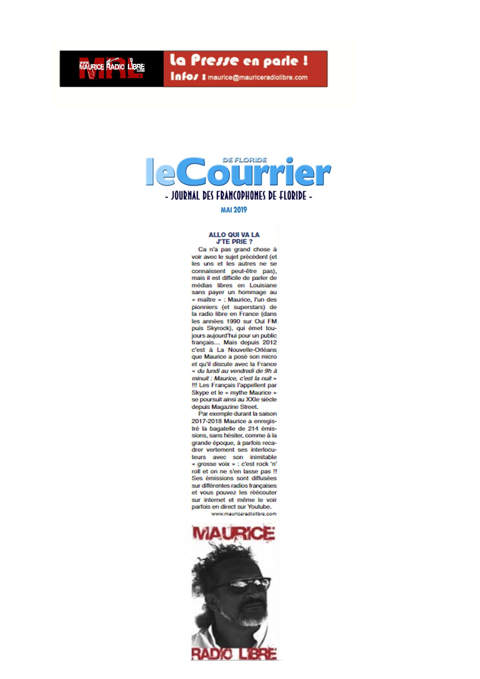 vignette Le Courrier de Floride - Journal des Francophones de Floride - Mai 2019