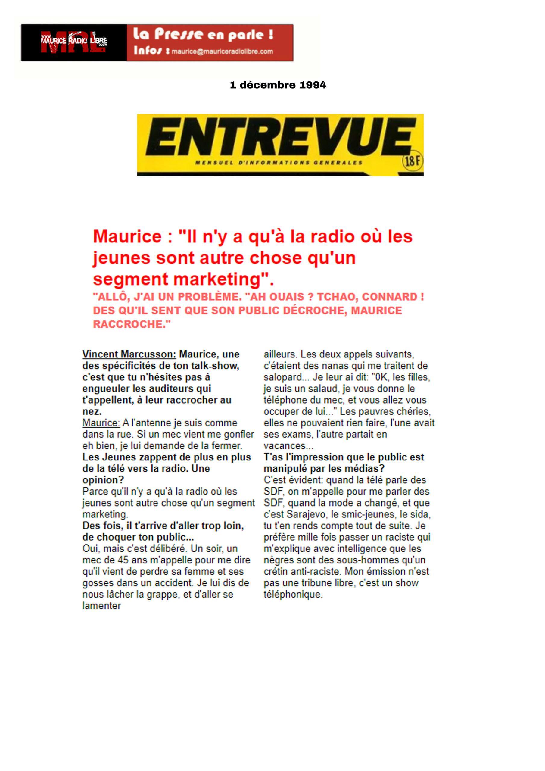 vignette Entrevue Il n'y a qu'à la radio où les jeunes sont autre chose qu'un segment marketing - 01/12/1994