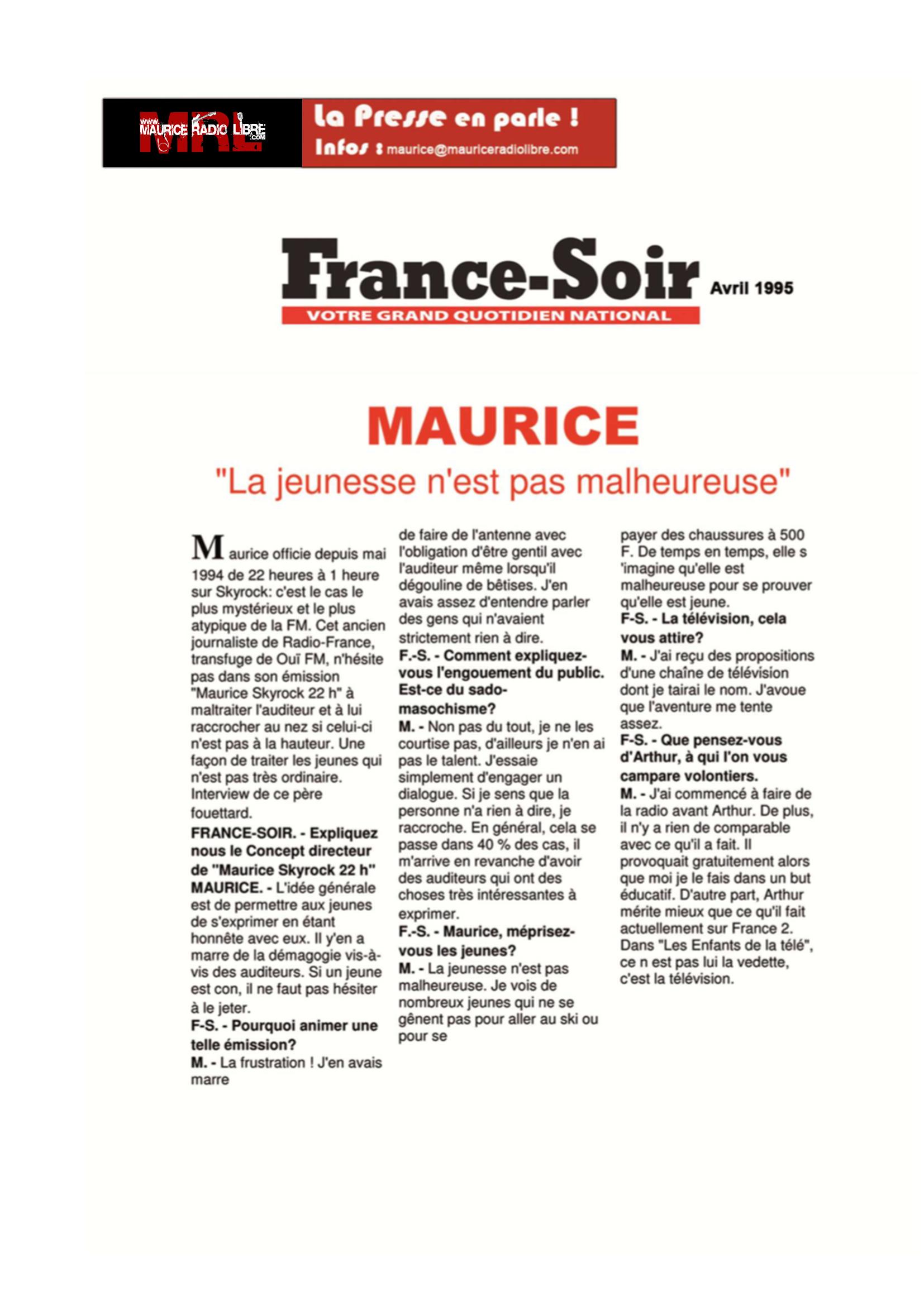 vignette France Soir Un autre regard sur la jeunesse - Avril 1995