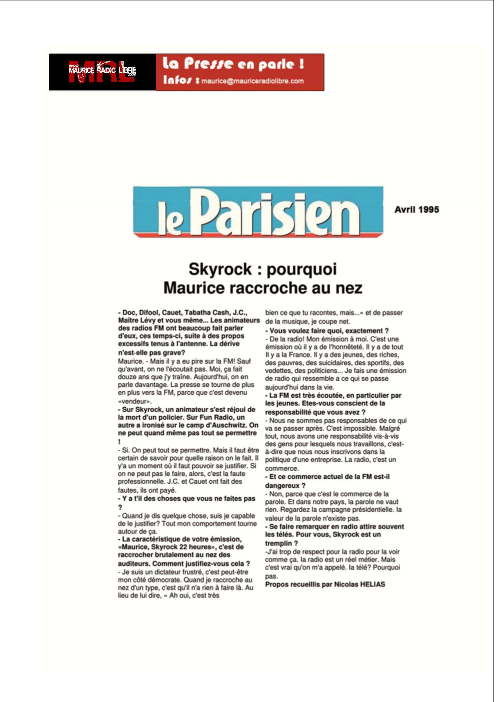 vignette Le Parisien Skyrock : pourquoi Maurice raccroche au nez - Avril 1995