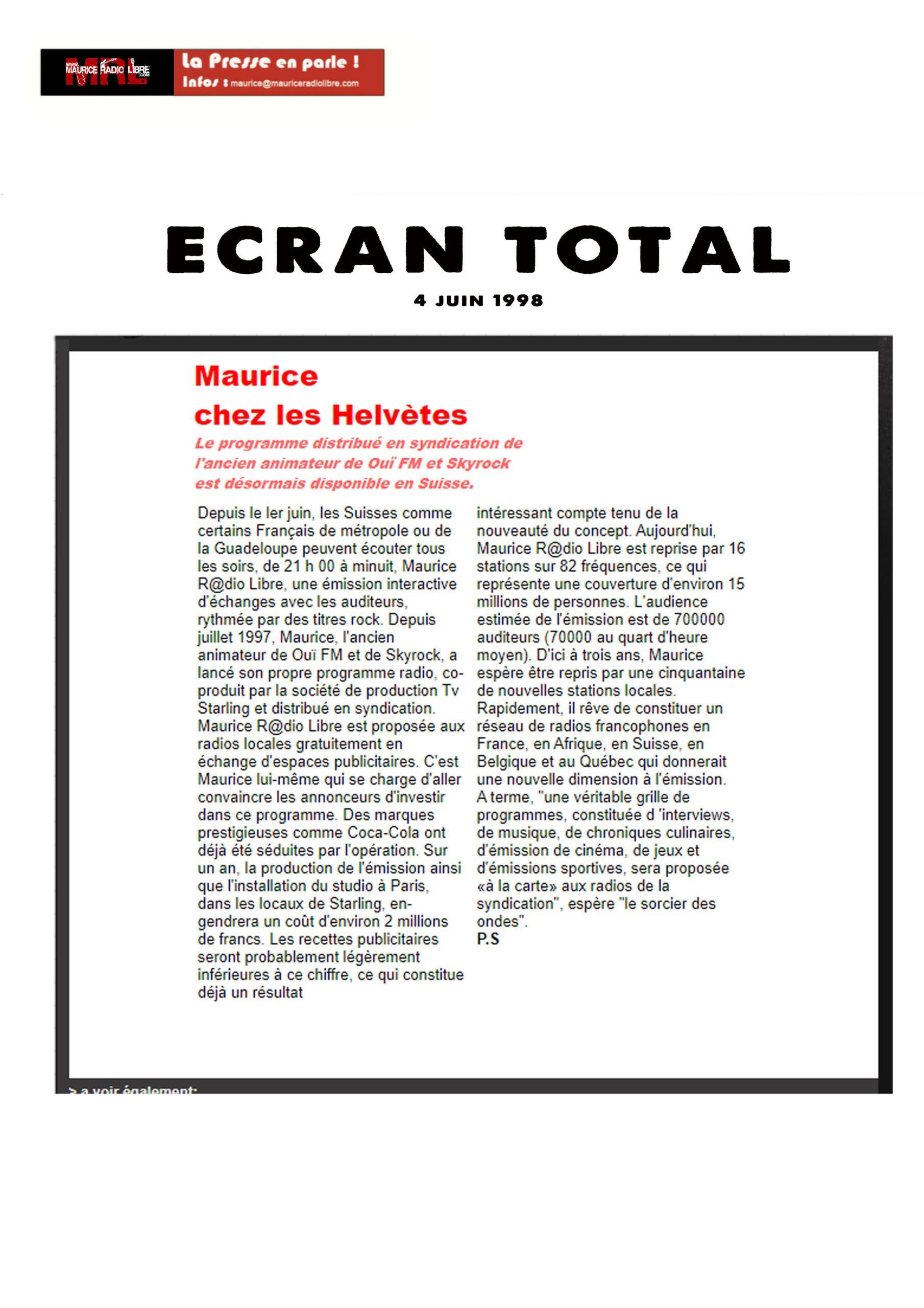 vignette Ecran Total Maurice chez les Helvètes - 04/06/1998