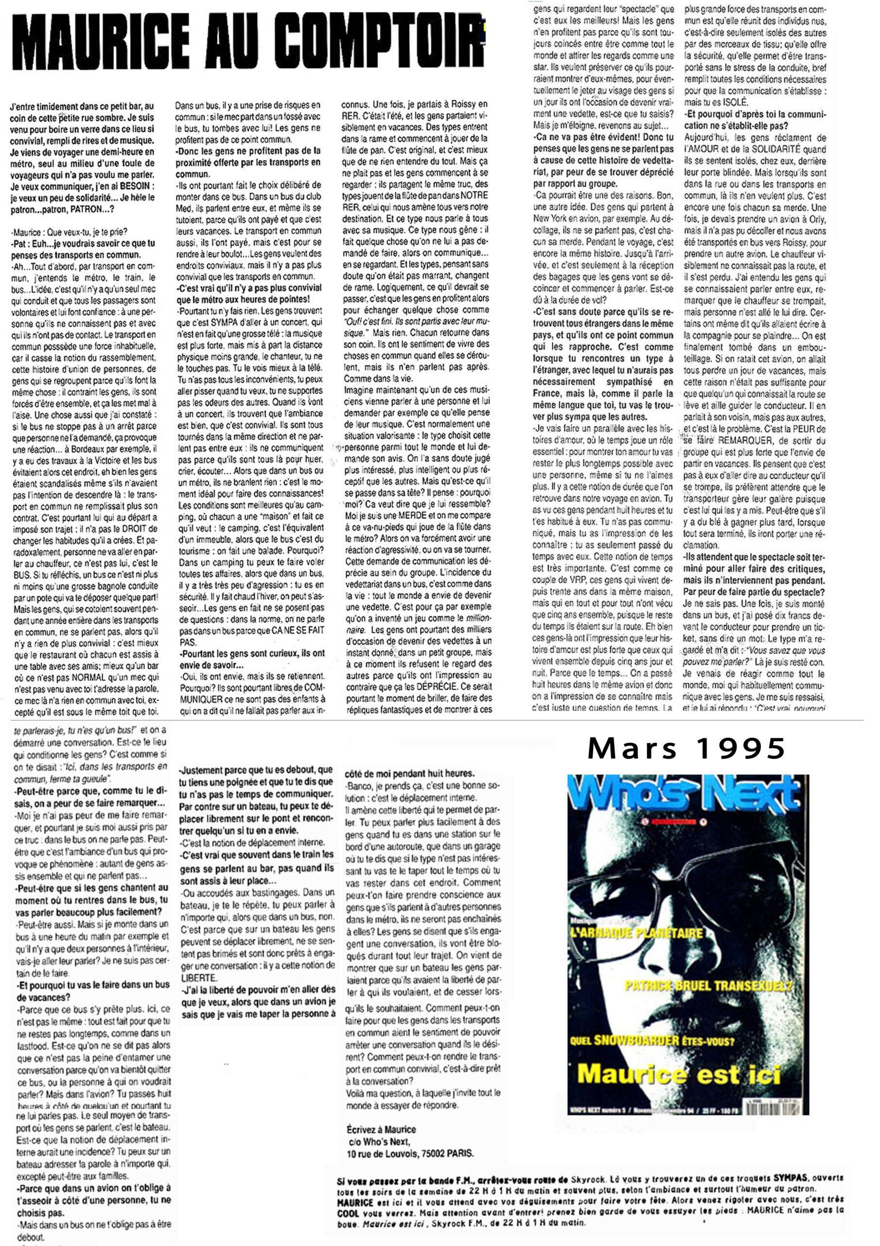 vignette Who's Next Maurice au Comptoir - Mars 1995